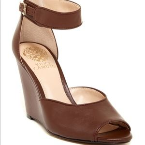 "Vince Camuto ""Marnie"" brown leather peeptoe wedges"